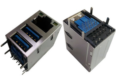 2x USB3.0 Combo Jack RJ45 Gigabit Ethernet LPJU1608AHNL Kalkan / LED'ler GY